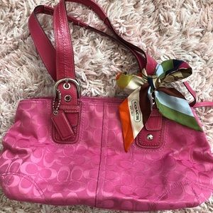 Coach Pink Tote Bag with Scarf Bow